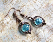 Steampunk Earrings for Earth Day - Blue and Copper Earrings - Earth Day Earrings