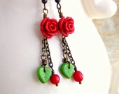Rose Earrings inspired by Kaylee from Serenity & Firefly with Red Roses and Brass Chain -  Red and Green Earrings