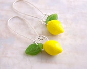 Lemon Earrings - Yellow lemons with green leaves hang from long ear wires - Yellow earrings