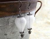 White Hot Air Balloon Earrings - Steampunk balloon earrings in blown glass and gunmetal  - Wedding Jewelry - Dangle earrings