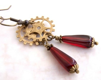 Steampunk Earrings - red Czech glass beads and brass gears - steampunk jewelry - gear earrings