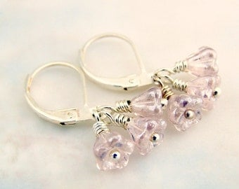 Pale Pink Flower Earrings - Tiny pink Czech glass beads are wire wrapped in silver