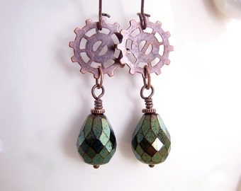 Copper and Green Steampunk Earrings with Gears - Steampunk Jewelry