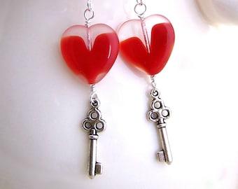 Key with a Heart Earrings - Steampunk Earrings with a red heart & silver skeleton key - Valentine jewelry