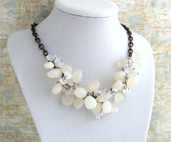 White Agate Necklace, Moonstone & Copper with twisted wire and chain