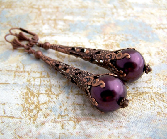 Purple Earrings with Glass Pearls & Copper Filigree - Antique Victorian style with plum pearls