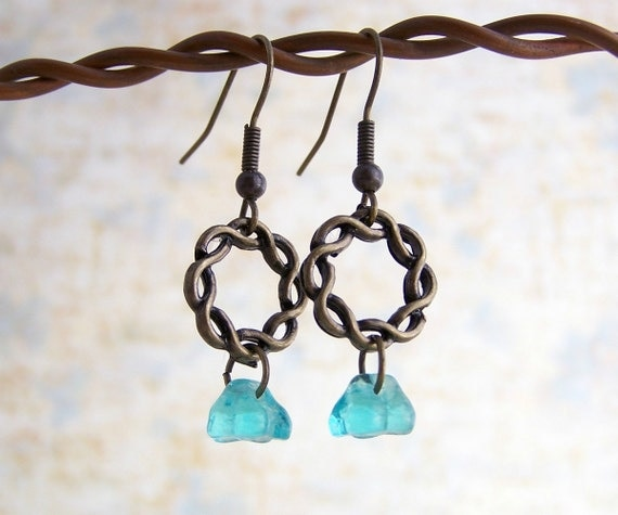 Turquoise Flower Earrings with a Brass Ring - Czech glass beads