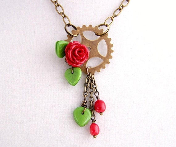 Steampunk Necklace inspired by Kaylee from Serenity & Firefly with A Red Rose and Gear - Steampunk Jewelry