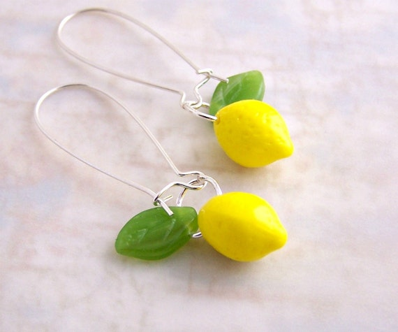 Lemon Earrings - Yellow lemons with green leaves hang from long ear wires - Yellow earrings
