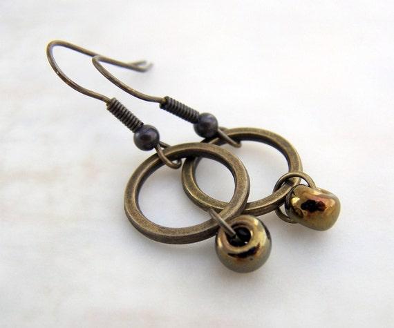 Simple Brass Earrings - Catch the Brass Ring - industrial jewelry - steampunk earrings
