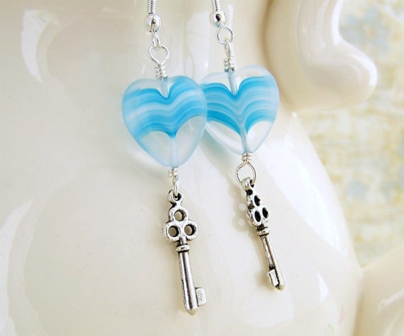 My Blue Valentine - Blue Heart and Key earrings - Steampunk Earrings