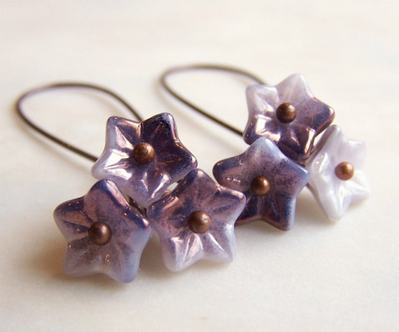 Purple Flower Earrings - Czech glass beads with variegated purple and copper highlights