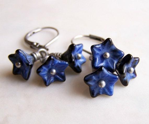 Denim Flower Earrings - blue and silver earrings with Czech glass bead flowers - blue flower earrings