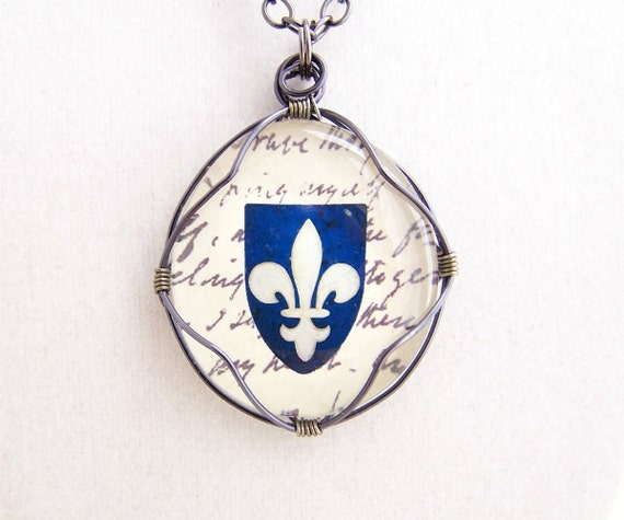 Fleur de lis Pendant on a Blue Crest - unisex - fleur-de-lis necklace - Ready to ship