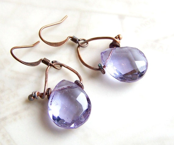 Alexandrite Earrings in a Romantic Industrial Style - Copper with patina green & pale purple briolettes - african violets