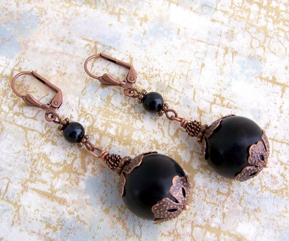 Black and Copper Victorian inspired Earrings or Pirate cannon ball earrings - Pirate Jewelry
