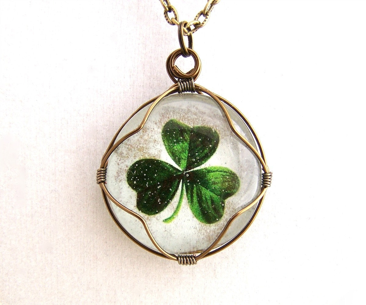 reserved shamrock necklace pendant wire wrapped glass