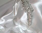 Rhinestone Flowers Double Headband with Silk Ties