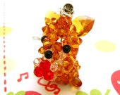 Fox Charm with Red Berries - Swarovski Crystals and Sterling Silver Cell Phone Charm, Necklace Pendant, Miniature Figurine