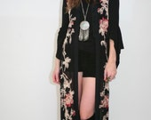 Sheer Maxi duster/vest with embroidered flowers