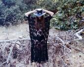 Black sheer lace kaftan maxi dress