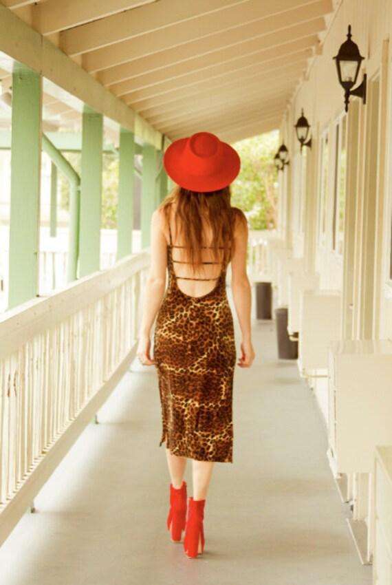 Velvet Leopard print maxi dress with open back