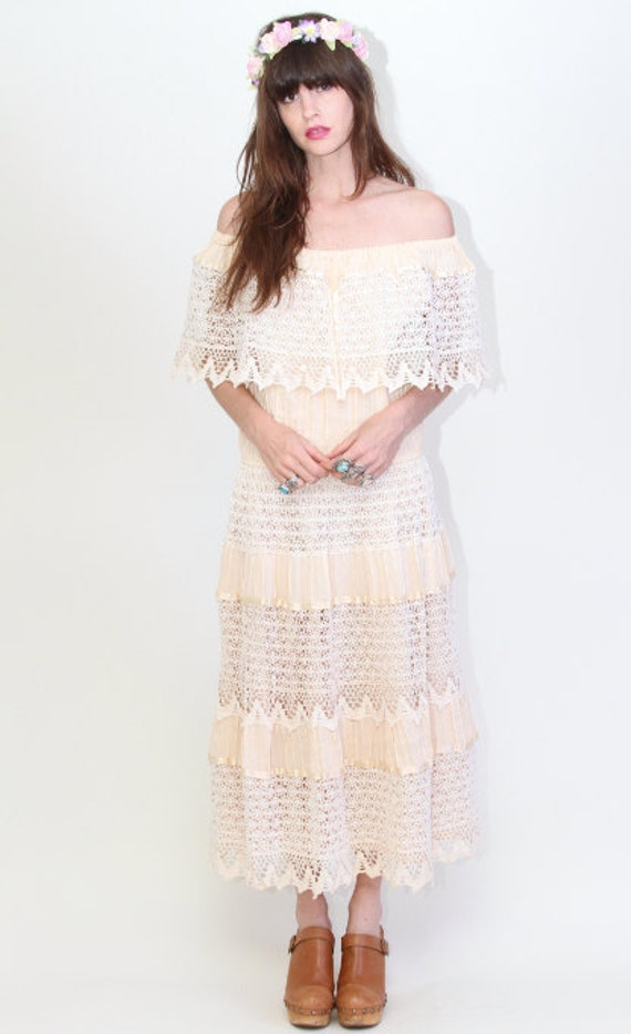 Vintage 60's Boho hippie Lace Mexican Maxi Dress