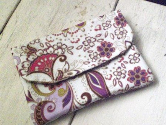 Fabric wallet, white, purple, floral, paisley, velcro, pockets, lined, womens, teens, accessories, ready to ship, handmade