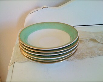 Antique Green & Gold Dessert Bowls or Saucers