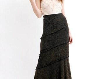Vintage Metallic Maxi Skirt