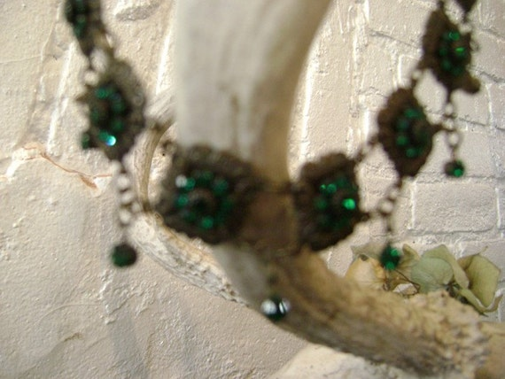 Victorian Style Choker, Emerald Green Rhinestones