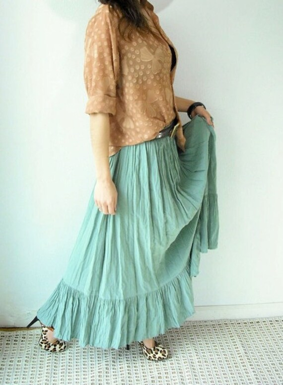 Vintage 80's CELADON GREEN Crinkle Ruffle Flowy Maxi Skirt