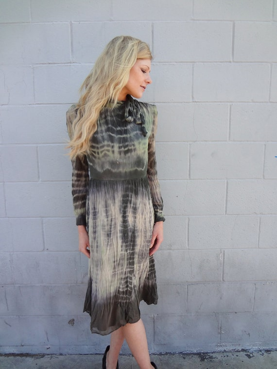 RESERVED FOR JULIA Hand Tie Dyed Vintage Silk Dress