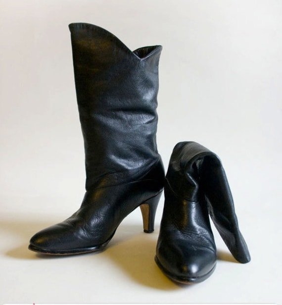 Vintage Black Leather Mid-Calf Womens Boots Size 6.5