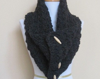 A Beautiful thick soft warm charcoal gray  Scarf cowl neckwrap neck warmer