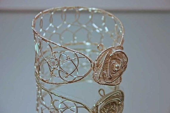 A Rose for the Bride: Rose Bangle in Silver with Crystals and Pearls