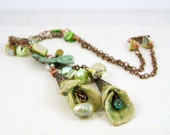 Necklace chain aqua olive verdigris pastel vintage style valentines day antique copper floral ceramic pearls butterfly free shipping