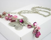 Necklace vintage style boho chic romantic chain silver plated pendant butterfly hot pink pearls mother of pearl free shipping