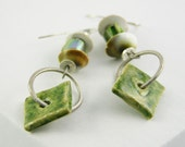 earrings unique modern organic green ceramic shell sterling silver free shipping teamt