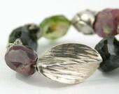 Bracelet multicolor tourmaline gemstone Thai silver sterling silver purple pink green free shipping