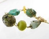 bracelet wire wrapped antique gold gemstones vintage style shabby chic romantic dragonfly jade turquoise aventurine amber aquamarine