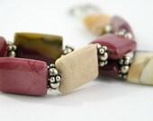gemstones healing stones bracelet free shipping sterling silver mookaite brown cinnamon mustard earth tones modern rustic woodland