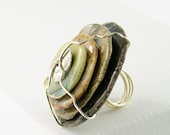 ring cocktail ceramic stacked wire wrapped saucers modern statement stone bronze golden brown aqua silver free shipping