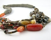 RESERVED Necklace ethnic multistrand coconut red agate black agate silver tribal statement bold organic natural