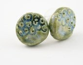 Porcelain jewelry Earrings ear studs ear posts modern sea fungi ceramic surgical steel organic nature ooak olive blue free shipping teamt