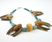 necklace silver ceramic recycled wood coconut tusks teal green tribal ethnic fashion  modern ooak unisex
