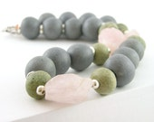 Necklace bold modern ceramic grey green silver gemstonerose quartz pink rough chunky statement