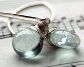Teal Quartz Gemstone Earrings, Blue Green Quartz Wire Wrapped Smooth Heart Briolettes, Handmade Sterling Silver Earwires, Sea Foam Green