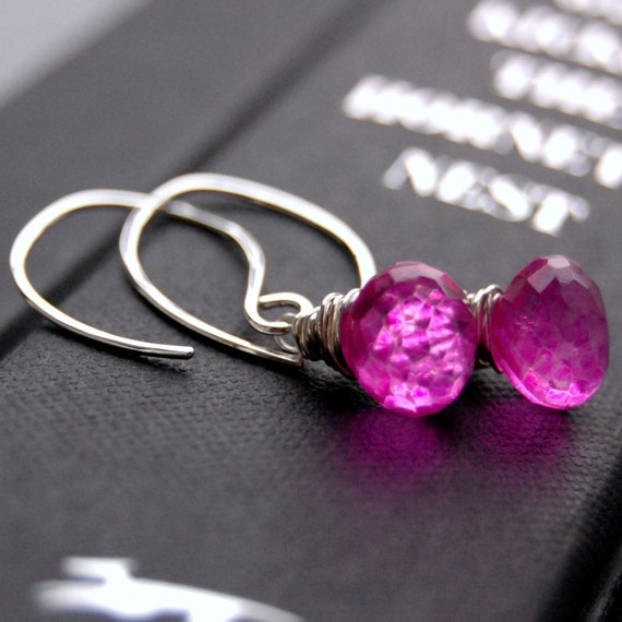 Earrings Handcrafted of Vivid Hot Pink Quartz Wire Wrapped Faceted Onion Briolettes on Handmade Sterling Silver Earwires