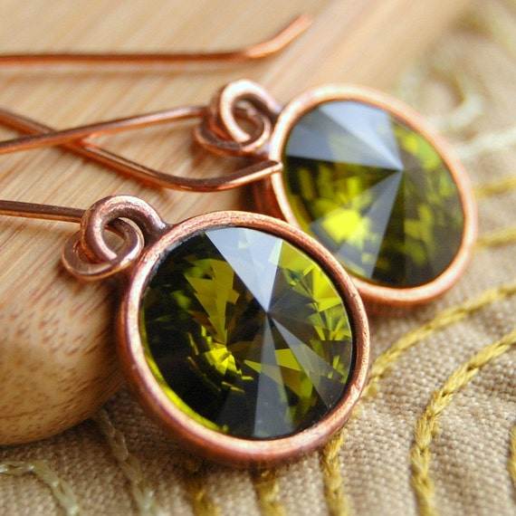 Olive Green Crystal Earrings, Olivine Swarovski Crystal Rivoli Drops in Copper, Handmade Copper Earwires